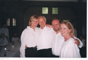Organists, Sir David Willcocks workshop, Santa Barbara CA, 1990s. From left: Elizabeth Rembolt, Sir David Willcocks, Ray Urwin, and the late Mary Gerlitz.